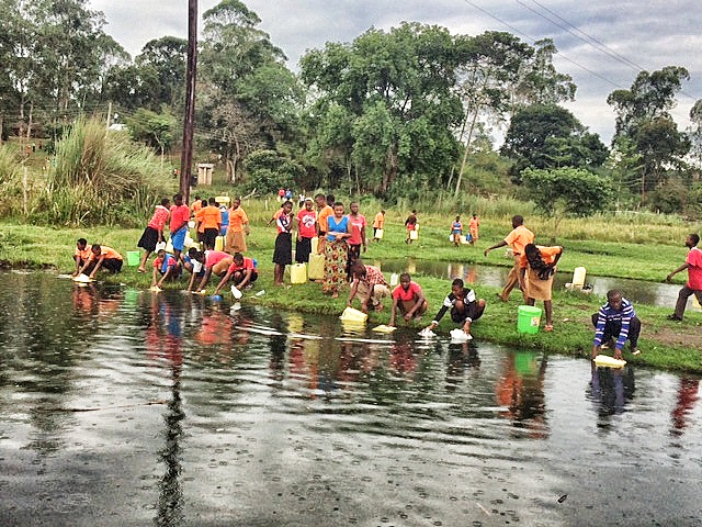 Students collecting water