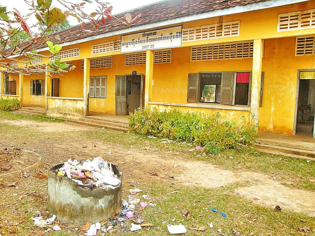Trash outside of the school