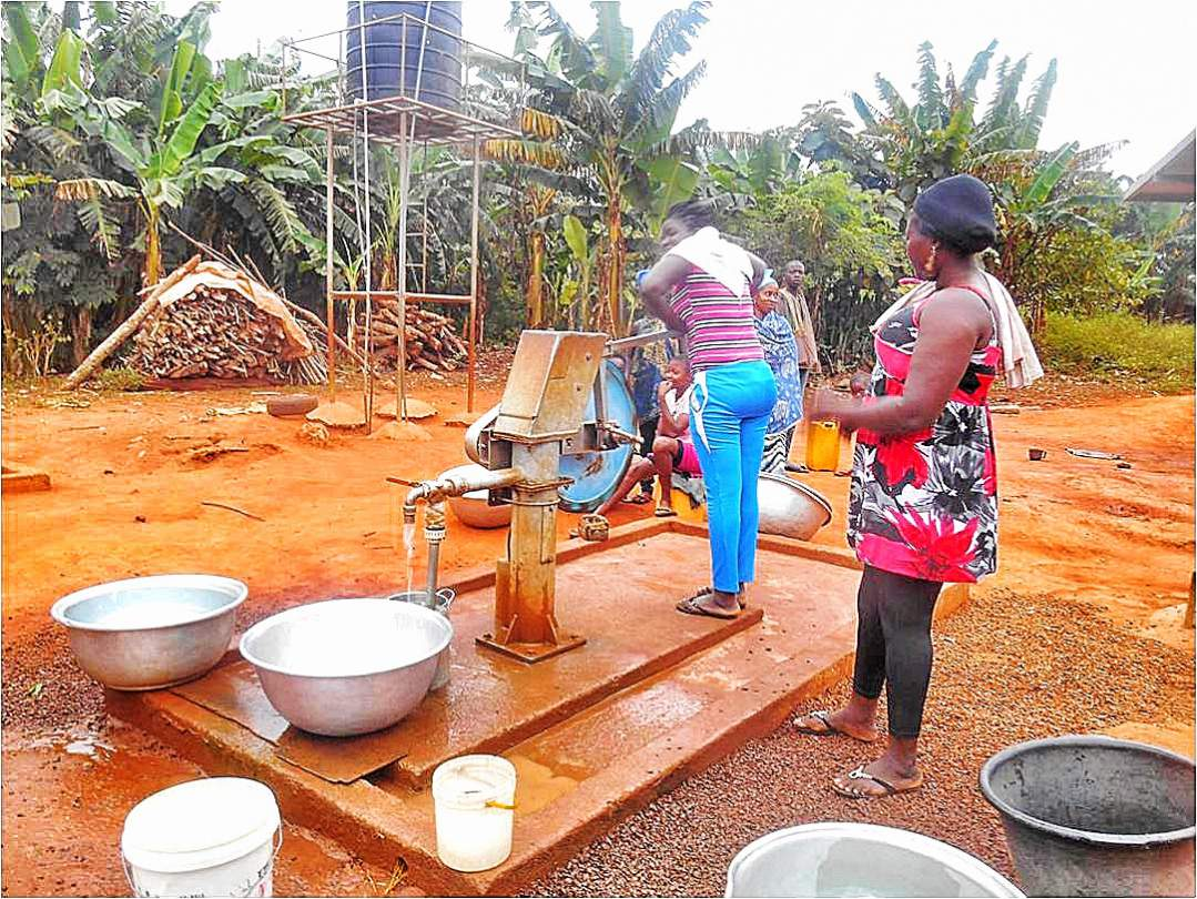 Borehole and pump