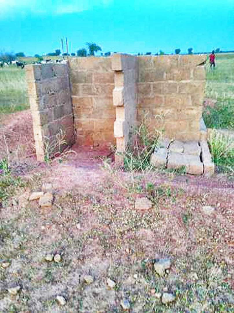 Partially completed and abandoned latrine