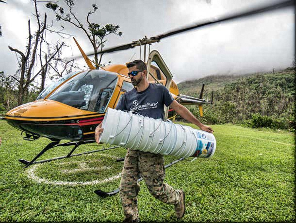 Helicopter deliver of bucket filters