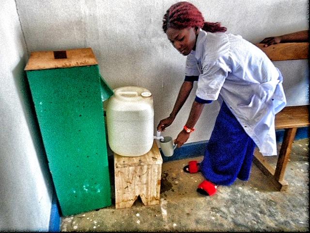 Nurse using clean water