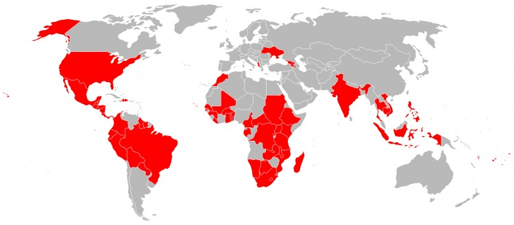 Map of Countries Served