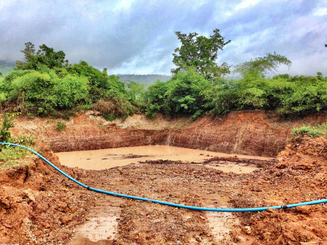 Excavatng the pond