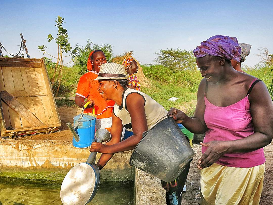 Women getting water