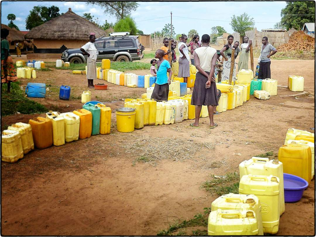Lines for water in Tore, South Sudan