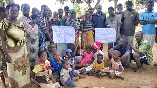 Villagers thanking Water Charity