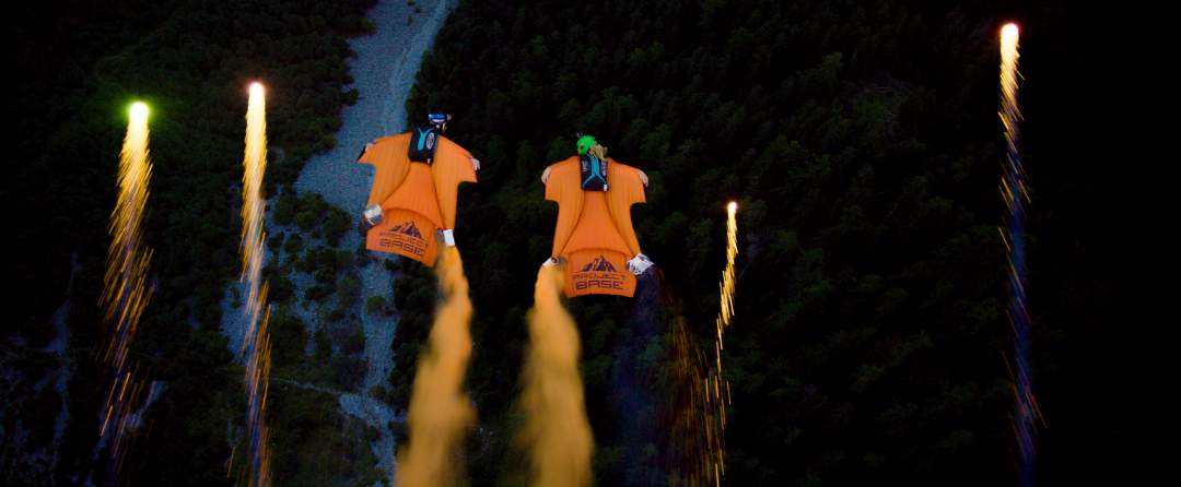 Project Base Wingsuit Night Flight